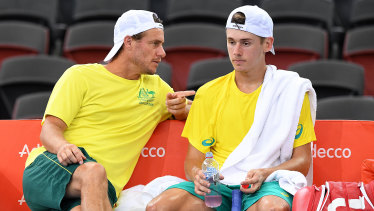 Master and apprentice: Lleyton Hewitt and Alex De Minaur on Davis Cup duty.