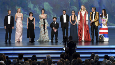 Final bow: The cast of Game of Thrones on stage at the Emmys.
