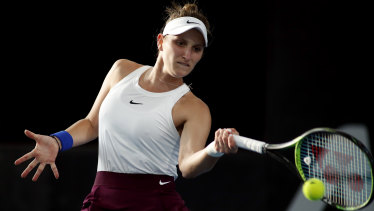 Powering up: Czech Marketa Vondrousova in action against Ashleigh Barty.
