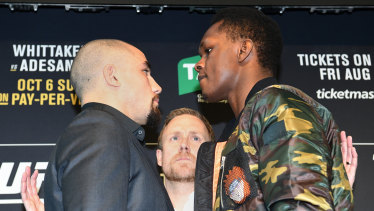 Robert Whittaker and Israel Adesanya face off at Federation Square.