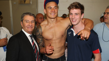Heavy hitters: Sonny Bill Williams with Nick Politis and David Gyngell after the 2013 grand final win by the Roosters.