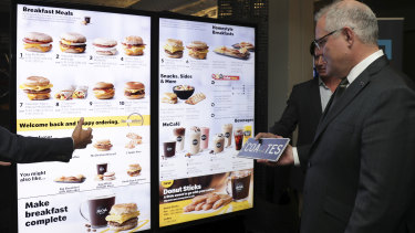 "Prime Minister Scott Morrison is shown ""smart"" McDonald's Drive-Thru technology at 1871, a non-profit digital start-up incubator."