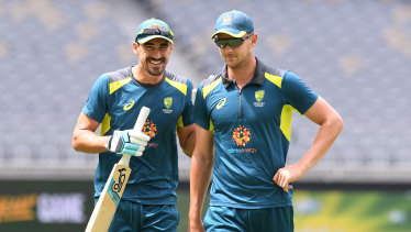 Josh Hazlewood, right, is tipped to be selected for the second Test, while Mitchell Starc, left, was likely to miss out again.