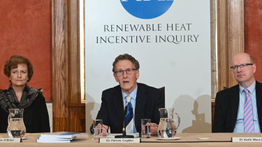 Inquiry chairman Sir Patrick Coghlin accompanied by Dame Una OBrien, panel member, and Dr Keith MacLean, technical assessor, present the findings of the Renewable Heat Incentive (RHI) Inquiry on Friday.