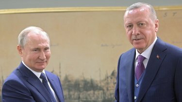 Turkish President Recep Tayyip Erdogan  and Russian President Vladimir Putin, leaders of two countries at odds over Syria.