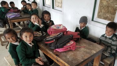 Pupils in their new school.