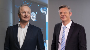 Outgoing Nine CEO Hugh Marks (left) and Seven boss James Warburton (right) have been trying to sell their transmission tower company all year.
