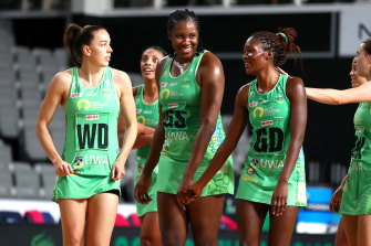 Jhaniele Fowler (centre) and the Fever were too strong for the Vixens in their postponed meeting.