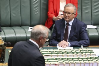 Prime Minister Scott Morrison and Opposition Leader Anthony Albanese during Question Time at Parliament House in Canberra.