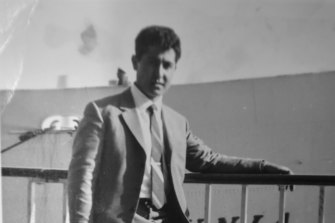 Diego Luppino in 1962 in front of the ship on which he came from Italy.