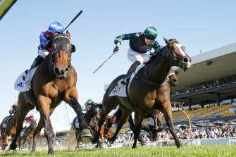 Tom Sherry drives I Am Power to victory down the outside at Rosehill in May.