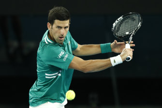 Novak Djokovic makes light work of his first-round opponent in the Australian Open.