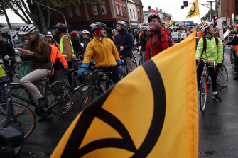 Protesters on pushbikes shut down parts of the city on Wednesday.