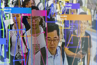 A screen demonstrates facial-recognition technology at the World Artificial Intelligence Conference in Shanghai.