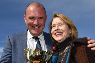 Anthony Mithen and Gai Waterhouse celebrate Runaway's 2018 Geelong Cup victory.