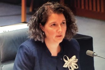 Australian Law Enforcement Integrity Commissioner Jaala Hinchcliffe at Senate estimates on Thursday night.