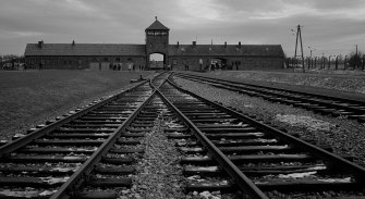 The railway tracks from where hundreds of thousands of people were directed to the gas chambers to be murdered inside the former Nazi death camp of Auschwitz-Birkenau.