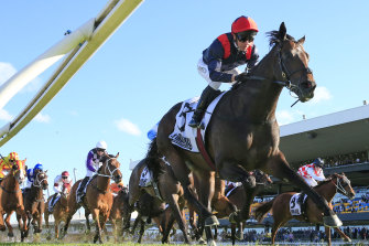 Kerrin McEvoy rides I Am Superman to victory in the Iron Jack Shannon Stakes at Rosehill.