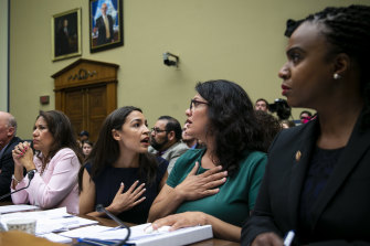 The four Democrat congresswomen attacked by Trump – Ayanna Pressley, Alexandria Ocasio-Cortez, Rashida Tlaib and Ayanna Pressley – testify before the House Oversight Committee hearing on family separation and detention centres.