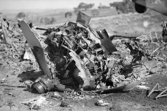 The wreckage at the site of the plane crash.