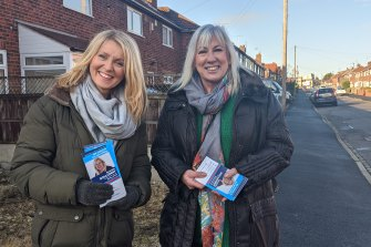 Esther McVey campaigns with Tory candidate Amanda Solloway in Derby South.