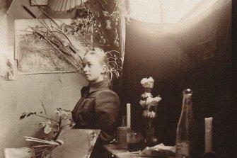 Hilma af Klint at the Kungliga Akademien in Stockholm, 1885.