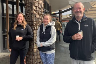 Ken Hanvey with daughters Joanne (L) and Michelle. Ken has downloaded COVIDSafe hoping it hastens his ability to see his grandchildren.