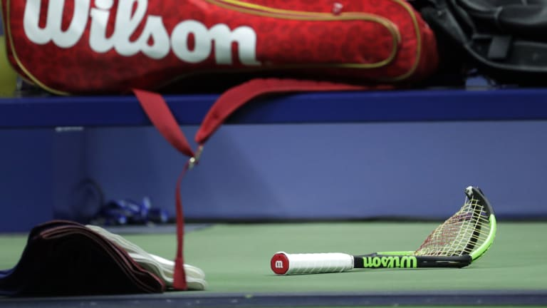 Serena Williams' broken racquet after she slammed it into the court during the women's US Open final against Naomi Osaka in New York on Saturday.