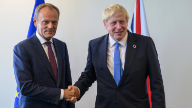 Donald Tusk, left, and Boris Johnson at the United Nations last month.