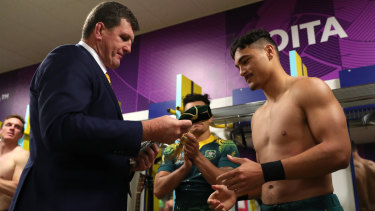 Huge promise: Tim Gavin presents the talented Jordan Petaia with his first Wallabies cap after the Uruguay match.