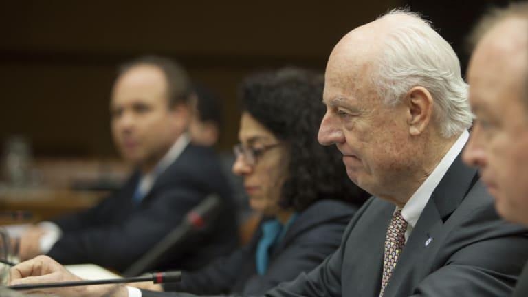 UN envoy Staffan de Mistura, second from right.