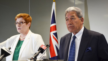 Australian Foreign Affairs Minister Marise Payne and New Zealand's Foreign Minister and Deputy Prime Minister Winston Peters after their first twice-yearly bilateral meeting in Auckland on Saturday.