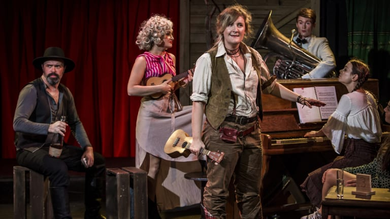 A scene from <i>Calamity Jane</i> with Virgina Gay, centre, in the title role.