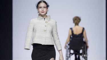 Disabled models in the Open World show at Moscow Fashion Week 2017.
