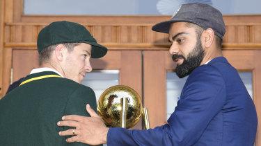 Tim Paine and Virat Kohli in Adelaide on Wednesday.