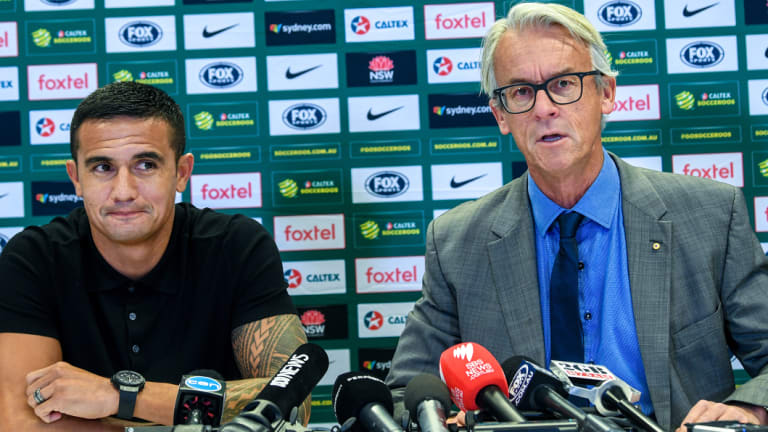 Legend departs: Tim Cahill with FFA CEO David Gallop at the announcement for his international farewell appearance against Lebanon.