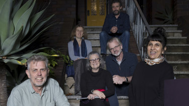 Stuart Davis, front left, at his Coogee home with choir members before a 'mini', socially distanced rehearsal.