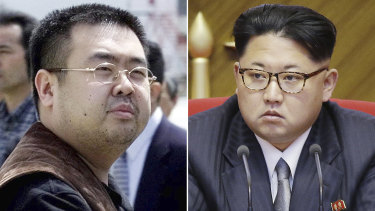 Kim Jong-nam, left,  in Narita, Japan, on May 4, 2001, and his half-brother North Korean leader Kim Jong-un.