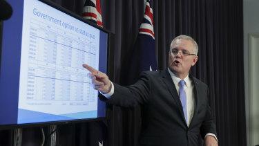 Scott Morrison when he was Treasurer explaining his new GST system in July.