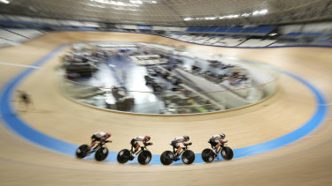 Athletes take part in an Olympic test event in Shizuoka last month.