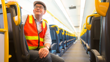 Victorian  Premier Daniel Andrews  on board a new VLocity train at Dandenong manufacturer Bombardier.