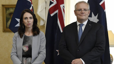New Zealand Prime Minister Jacinda Ardern, left, stands with Australian Prime Minister Scott Morrison in Sydney last month.