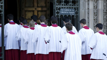 Choirboys outside St Patrick's Cathedral earlier this year.