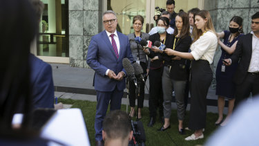 Labor MP Joel Fitzgibbon addresses the media at a doorstop interview following the announcement of his resignation from the Labor frontbench on Tuesday.