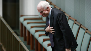 Late US Senator John McCain in the House of Representatives at Parliament House in Canberra in 2017.