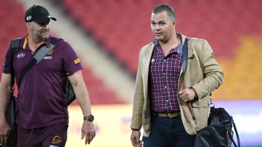 Anthony Seibold (right) has endured a disastrous time at the Broncos.
