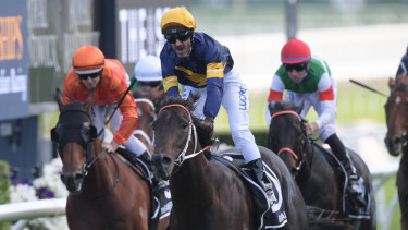 Glen Boss takes the Doncaster Mile on Brutal during The Championships in April.