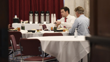 Senator Rand Paul right, Senator Marco Rubio, left, have lunch at a Republican policy lunch on Capitol Hill on March 20.