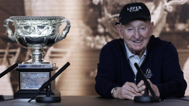 "This year marks five decades since Rod Laver won his second calendar ""grand slam"", the only player in tennis history to do so."
