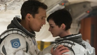 Matthew McConaughey and Anne Hathaway in a scene from Christopher Nolan's Interstellar.